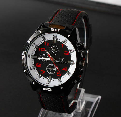 GT black dial military sports army style black silicone men watches