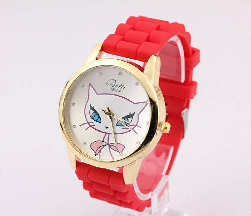 2015 new style silicone quartz watch simple cartoon cat dial with rhinestones