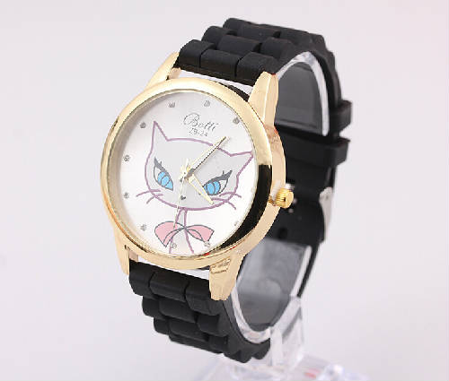 cartoon cat dial silicone quartz watch (2)