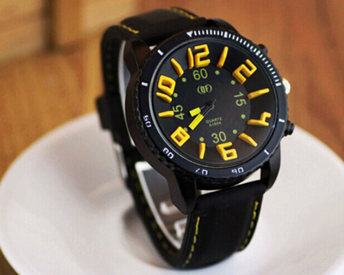 fashionable cool men watch stereoscopic word dial all match