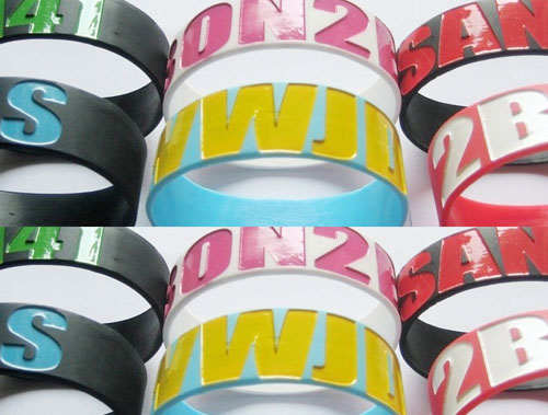 color filled debossed silicone bracelets