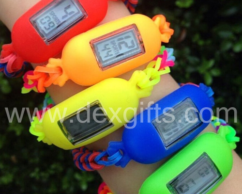 colorful diy loom band watches on wrist