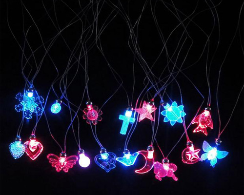flashing crystal necklace child light up pendants decoration red and blue double flash led lights