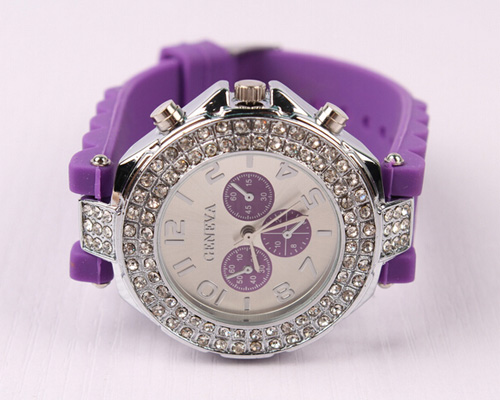 geneva watch two circle rhinestones silicone strap watch