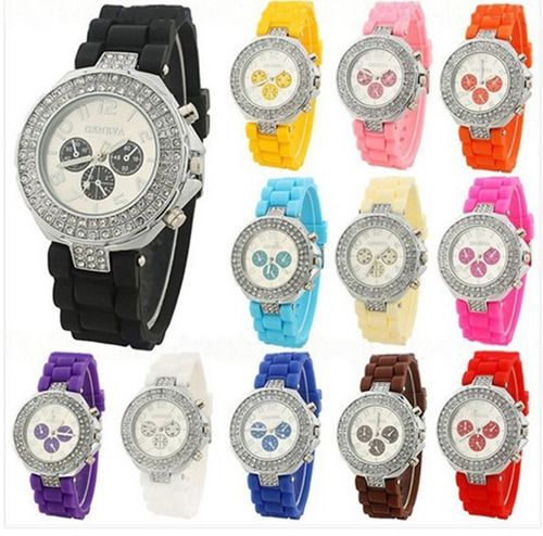 geneva watch two circle diamond silicone strap watch