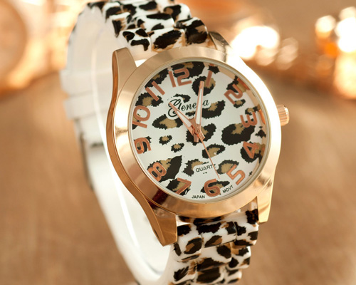 fashion womens girls ladies silicone band leopard print watches