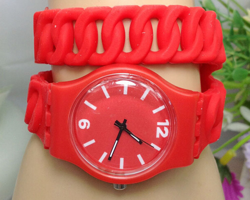 lady women style double wrap silicone wrist quartz watch