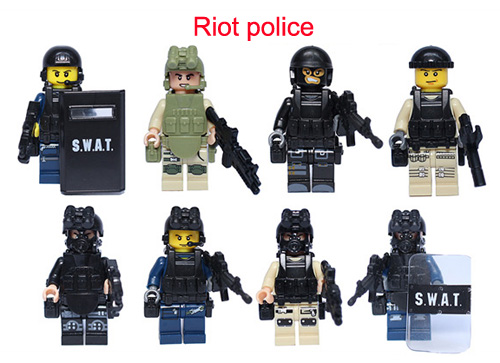 mini figures building toys asssembly building bricks riot police plastic toys