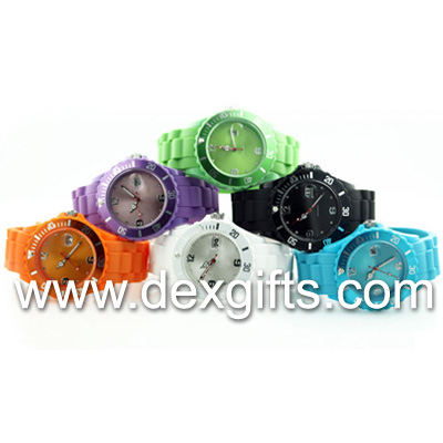 quartz calendar silicone watches without ices logo