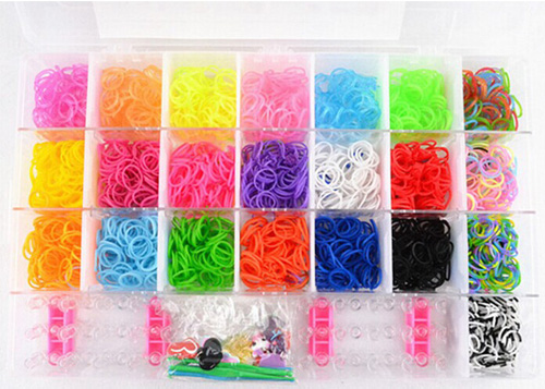 rainbow loom rubber band 3200pcs rainbow color loom bands