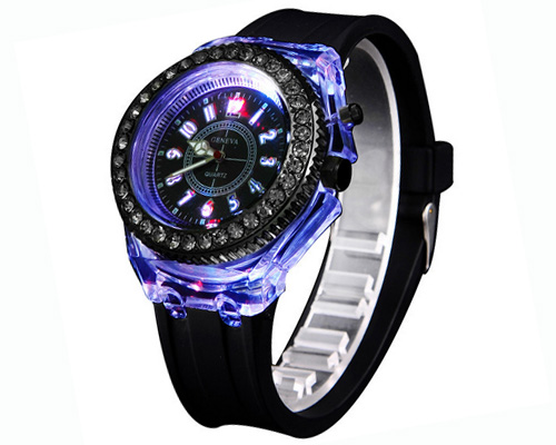new colorful flashing watch with seven lights and rhinestones