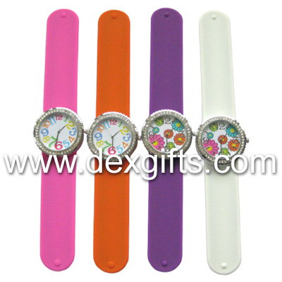 Large Face Radiant Slap Watches with Crystal Stones
