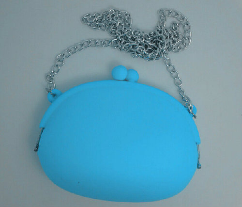 silicone cosmetics bags for women with small metal chain