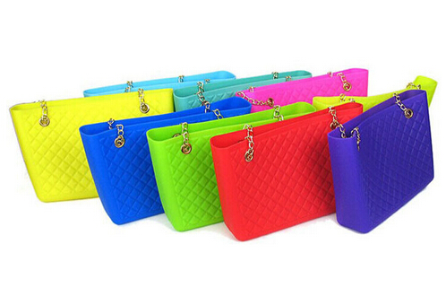 new jelly candy handbag brand woman satchel rubber bag purse with golden plate chain