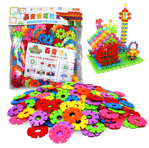 multicolor variety creative snowflake building blocks kid baby educational toys