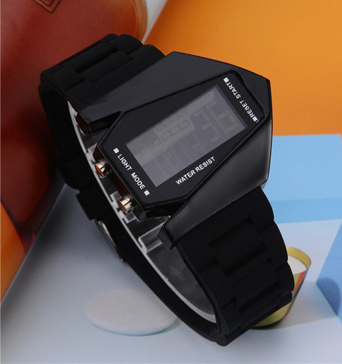 elegant plane style digital display led silicone wrist watch unisex sports watch