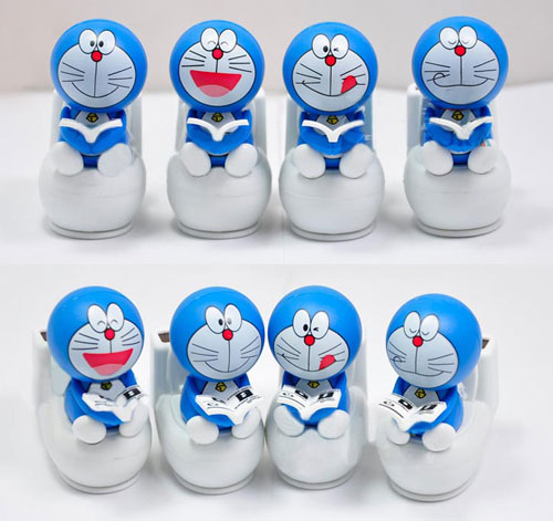 auto upholstery solar energy doraemon mini figure on closestool desktop ornament solar doll car decoration shaking head