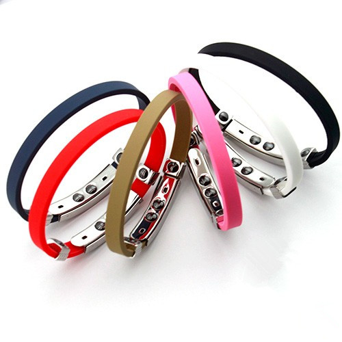 germanium titanium sports silicone bracelet wristbands with stainless steel parts