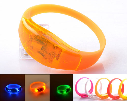 shaking bracelets light up wristbands outdoor sports LED pvc bracelets acoustic vibration