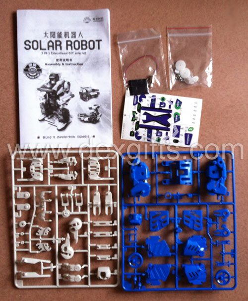 plastic diy solar robots before assembling: Supplied complete with fittings, instructions and removable component