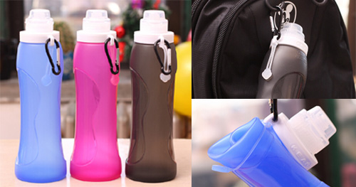 washable collapsible colorful customizable best foldable drinkware silicone sports bottle