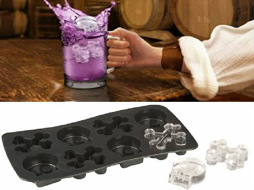 holloween gift skull crossbones silicone ice cube tray makes up to 8 ice cubes