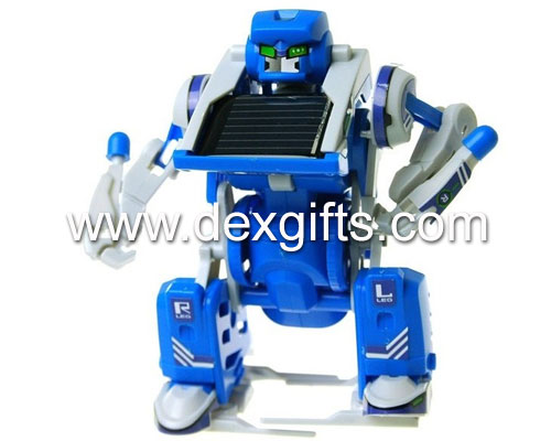 3-in-1 educational transforming blue solar robot kit plastic diy solar toys for children