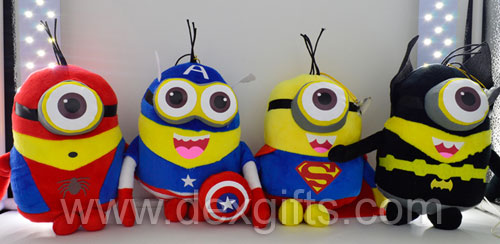 2015 newest soft huggable 8 inch super heroes version minions plush toy set despicable me plush buddies for kids